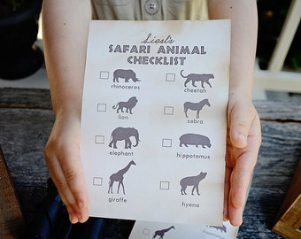 "Modern Safari Party - Animal Safari Checklist - 5""x7"" INSTANT DOWNLOAD PDF Printable, Safari Expedition, Scavenger Hunt,"