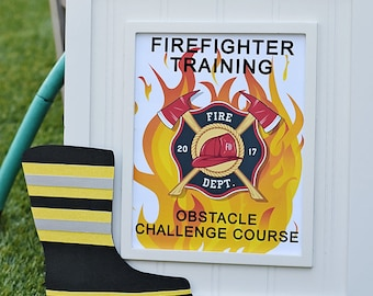 Firefighter Training Obstacle Challenge Course 8x10 PDF Printable file INSTANT DOWNLOAD Fire Truck Party, Party Signage, Kid Activity, fire