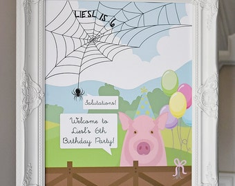 Charlotte's Web - Welcome Sign - Kid Birthday Party, Some Pig, Terrific, Wilbur, Salutations, Customized PDF Digital Download
