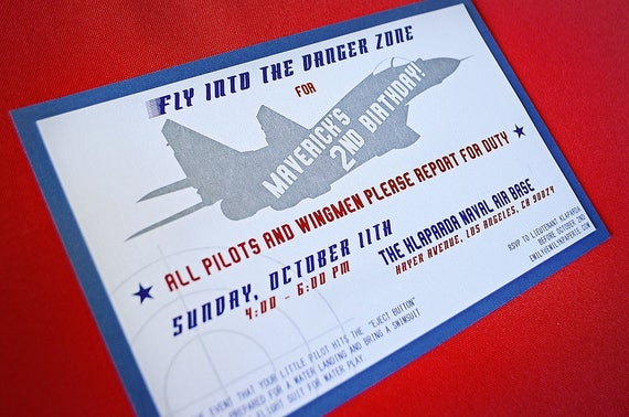 Top Gun Inspired Custom Printable Pdf Birthday Party Invitation A9