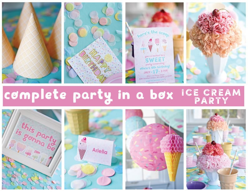 Printable Digital Sweet Treats Ice Cream Complete Party Kit Package Kawaii Summer Popsicle Birthday Sundae Bar You Print Party in a Box