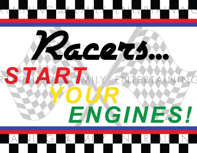 8.5 x 11 Welcome Door Sign Racers Racing Party INSTANT DOWNLOAD PDF Printable Start Your Engines Race Car Party Checkered Flag