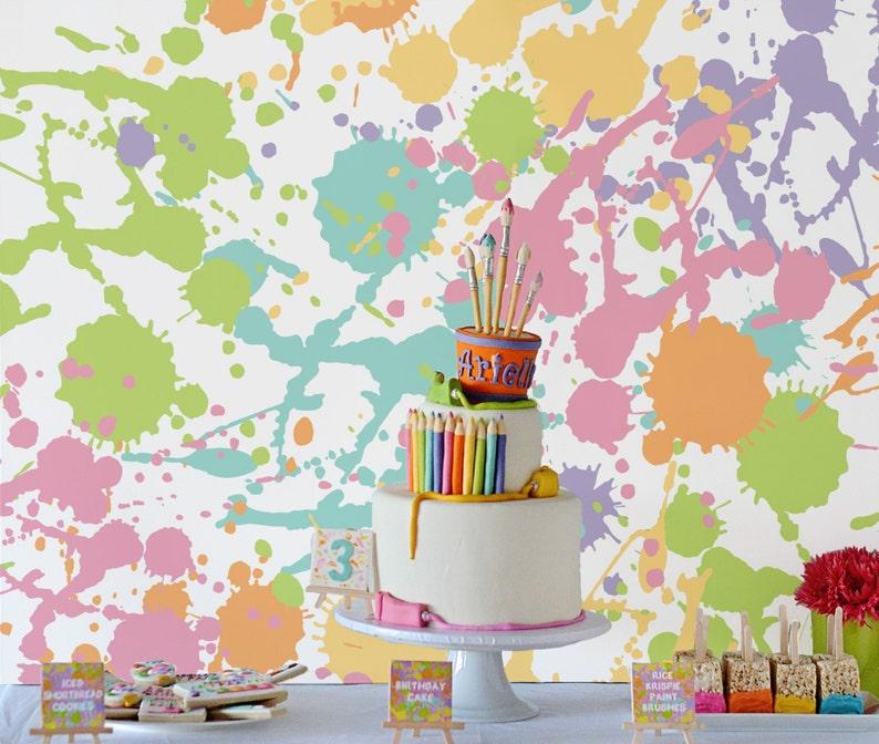 Art Party Paint Splats Backdrop Cake Table Dessert