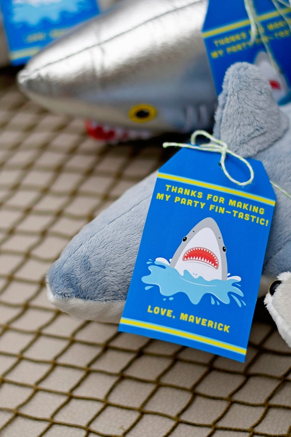 Shark Party Thank You Tags Goody Bag Tags Goodie Bag