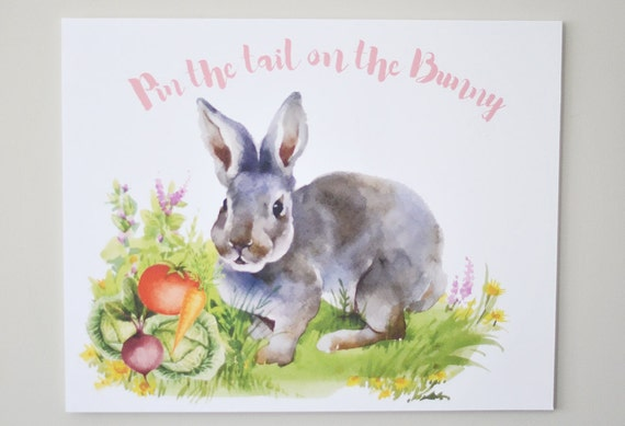 photo about Pin the Tail on the Bunny Printable called Pin the Tail upon the Bunny, Bunny Social gathering Watercolor 16\