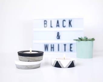 Bougeoir rond en béton, porte bougie minimaliste, bougeoir graphique, porte bougie ciment, déco industrielle noir blanc, décoration épurée