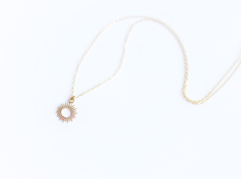 Summer necklace with tiny sun Sun pendant necklace 14K Gold filled Mother/'s day gift Minimalist and dainty necklace