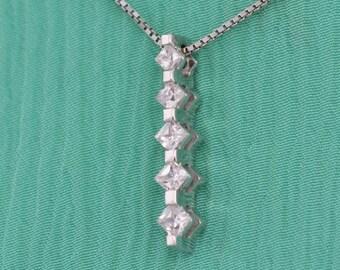 WHITE Gold Necklace , Princess Cut Diamond Necklace,