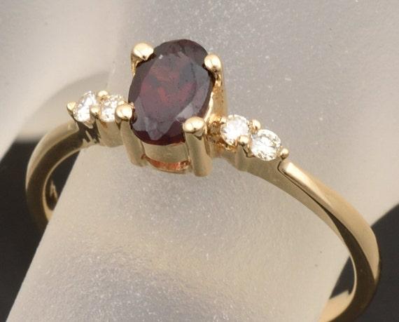 Yellow Gold Garnet Diamond Engagement Ring Garnet Etsy