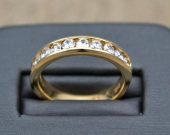 YELLOW GOLD wedding ring, ANNIVERSARY Gold  band , Diamond Gold Band