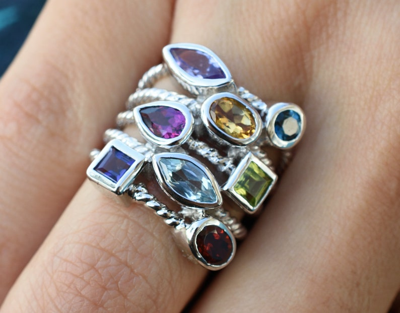 GIFT IN TIMESilver Natural Multicolor Gemstone RingCocktail Ladies Ring,Silver RingFashion  Statement RingContemporary Silver Ring