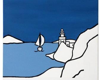 Greek Art, Blue and White Painting, Unique, Original, Paros, Greece, Lighthouse by Kolymbitris, Minimalistic Art, painting, Island