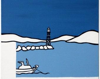 Greek Art, Paros, Aliki, Blue and Blue, Minimalistic Art, painting, Island, Greece, boat