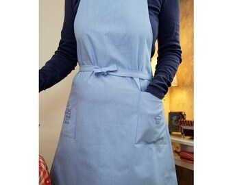 Embroidery blue kitchen utensils apron