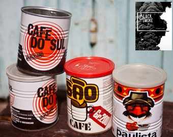 Lot of Italian coffee tin box, 60 '-70 ' tin coffee cans, Caffè Paulista vintage coffee collection reuse tin box