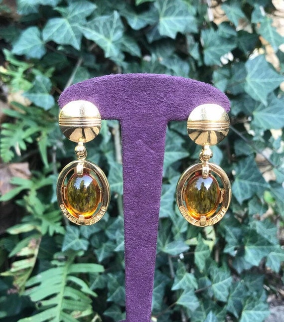 Céline Paris earrings gold vintage clips and caboc
