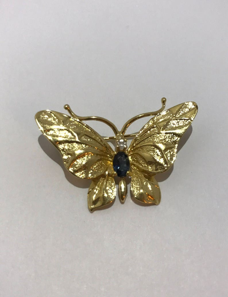 b8617a08a53 Butterfly pin brooch gold plated square with little saphir | Etsy