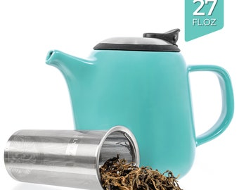Tealyra - Daze Ceramic Teapot Turquoise - 27oz - Stylish Teapot with Stainless Steel Lid Extra-Fine Infuser To Brew Loose Leaf Tea
