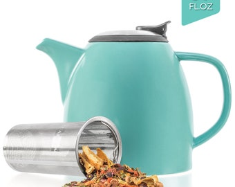 Tealyra - Drago Ceramic Teapot Turquoise - 37oz - Large Stylish Teapot with Stainless Steel Lid Extra-Fine Infuser To Brew Loose Leaf Tea