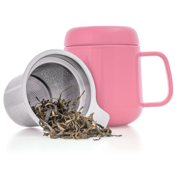 Tealyra Sumo Ceramic Tea Cup Infuser Pink 135 Oz Small Etsy