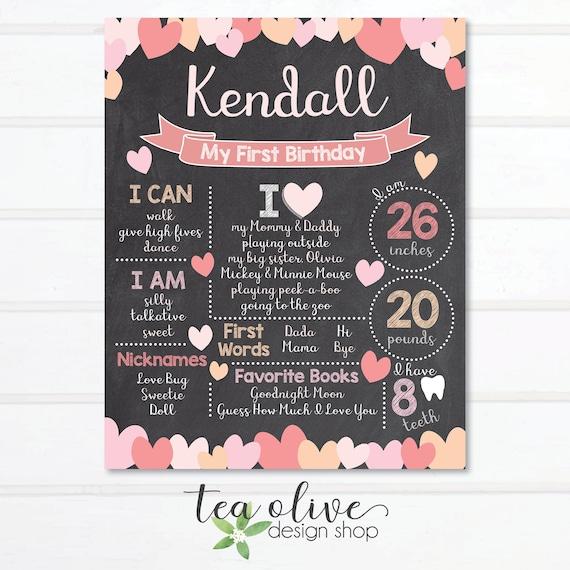 Valentine/'s Day Chalkboard Birthday Sign Valentine/'s Day Birthday Valentine/'s Day Chalkboard Birthday Poster Sweetheart First Birthday