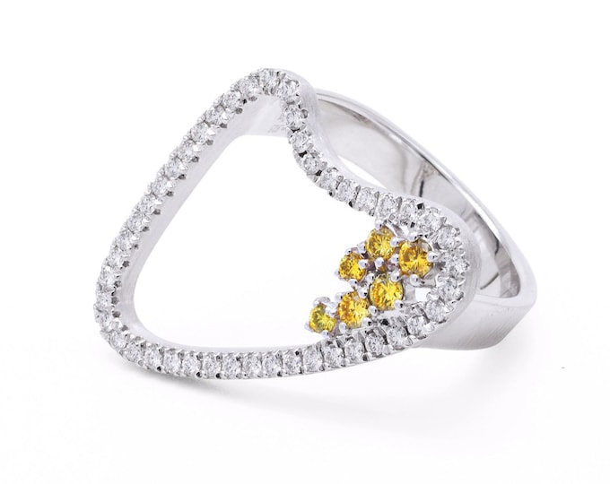 Curve Ring with Natural Diamond and Fancy Yellow Diamond, Unique Gold Curves Ring, Genuine Diamond Ring, Shiny Diamond Ring, Romantic Ring