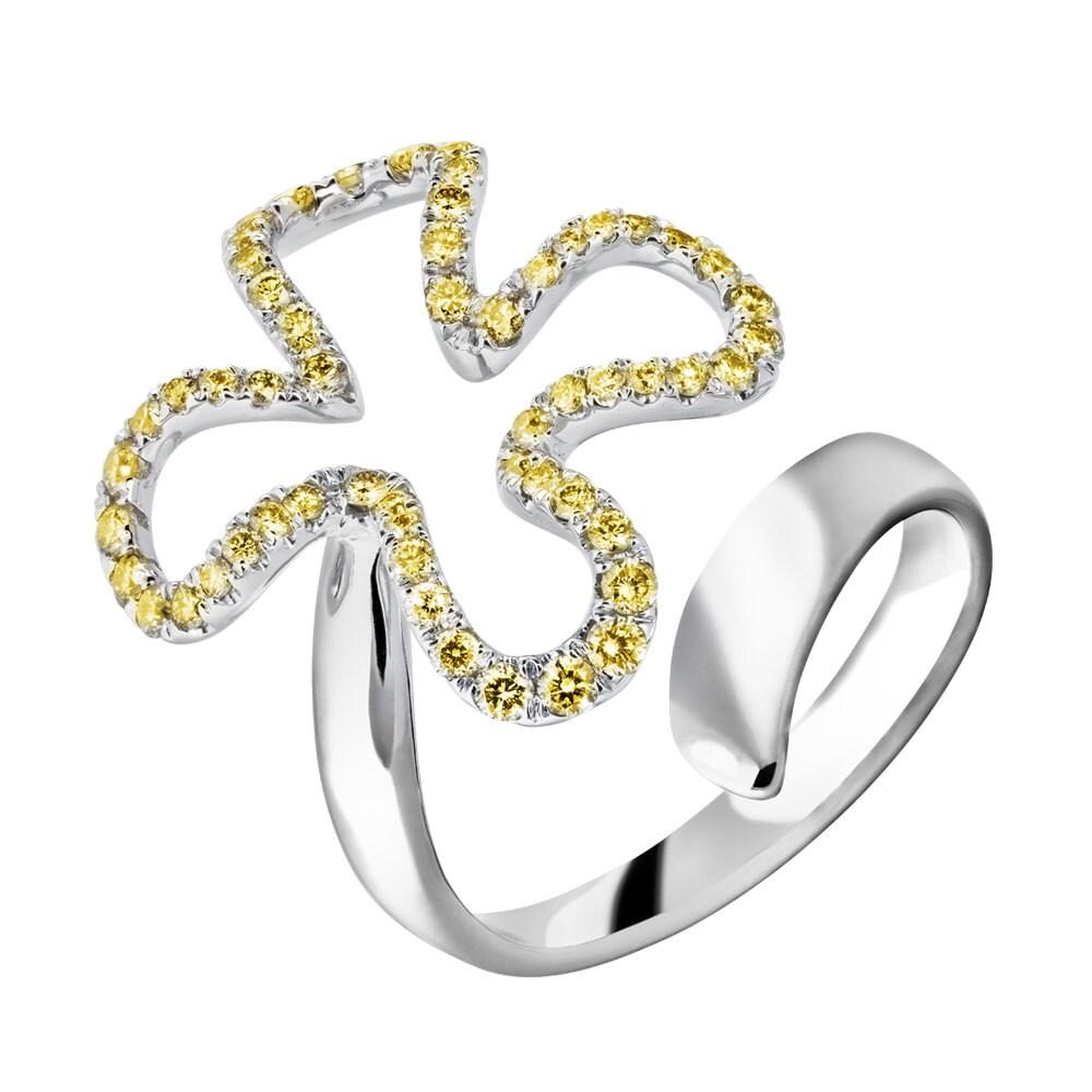 Floral Midi gelb natürlichen Diamanten | Damen 18 k Weißgold Ehering
