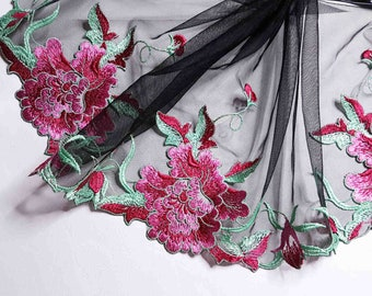 top x1m sewing lace black fuchisia embroidery flower pattern Royal 21.5 cm width