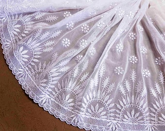 lace embroidery on fine white tulle 24cm wide x1m