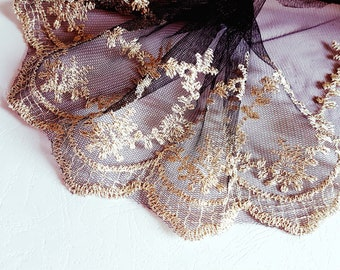 x1m refined lace embroidery black gold pattern royal 15.5 cm width