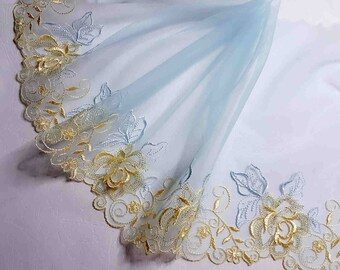 2.12 m great lace embroidery on blue Golden tulle width 19 cm