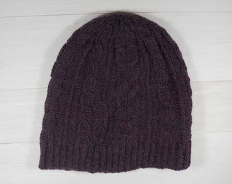 Knit beanie hat | Cable knit hat | Winter women's hat | Purple knit beanie | 100% wool hand knit | Gift accessories