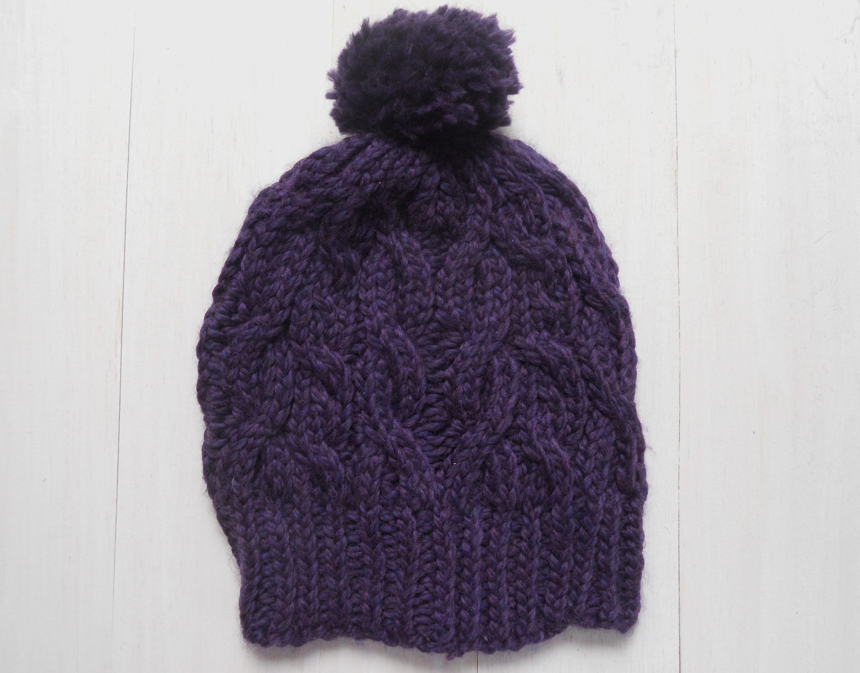 617fa428d7e05 Knit beanie hat Purple cable knit hat Winter women s