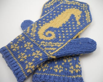 Wool mittens | Fair isle mittens | Seahorse Mittens | Hand knit mittens | Winter mittens | Fair isle accessories | Hand knit gifts