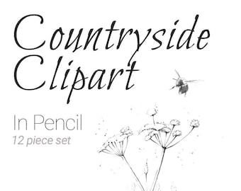 Hand Drawn Countryside and Nature Clipart, PNG & Vector download.  Pencil Heron, Bee, Goose, Rabbit,Flowers, Tree, Peak District and more!