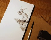 Hand-drawn rabbit greetin...