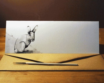 Hand-drawn rabbit greeting card-Limited Edition natural world and animal art drawn in ink-105x297 mm with hand-made envelope