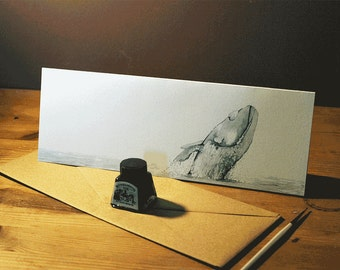 Hand-drawn whale greeting card-Limited Edition natural world and animal art drawn in ink-105x297 mm with hand-made envelope