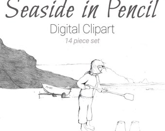 Hand Drawn Seaside and Beach Clipart, PNG & Vector download. Pencil sandcastle, little boy, girl, lighthouse, seashells, seagull and more!