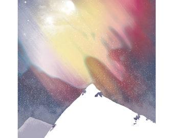 Aurora Borealis art print. A2 and A4. Nature art. Digital art. Winter art.