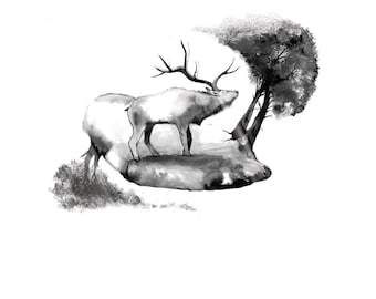Hand drawn stag in pen and ink art print. A2 and A3. Nature art. Hand drawn art. Animal art.