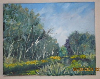 Oil Painting Yellow Flowers Along Bayou