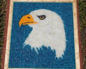 Mardi Gras Bead Art American Bald Eagle Framed