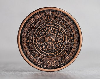 Aztec Calendar Challenge Coin- Antique Patina Copper | EDC Worry Fidget Fiddle | Every Day Carry | Maya Mayan Mexico Gift | Handmade Leather
