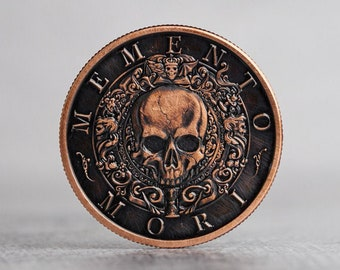 Memento Mori EDC Antiqued or Dark Patina Challenge Coin | Worry Fiddle EDC | Everyday Carry Copper | Skull Stoic Men's Leather Gift