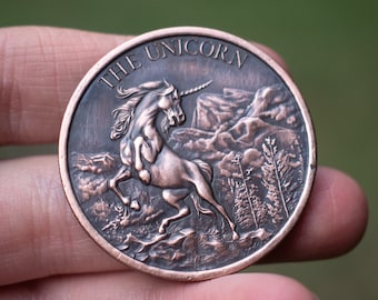 Unicorn Copper Coin | EDC Challenge Coin | Antique Patina | Worry Fiddle EDC | Every Day Carry | Mythology Mythical | Leather Gift