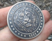 Challenge Coin Lion Black Antique Patina Custom Coin Worry Fiddle EDC Hobo Nickel 1 oz Silver Copper Morgan Dollar Replica Animal Gift