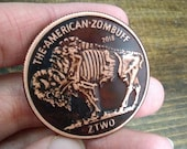 Challenge Coin EDC Worry Coin - Zombuff Zombucks Antique Patina Custom Coin Poker Guard Fiddle EDC Copper Coin Zombie Buffalo Nickel