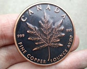 Canada Maple Leaf Antique Patina Custom Challenge Coin Medallion Hobo Nickel Worry Fiddle EDC 1 oz Copper Round Canadian USA Gift