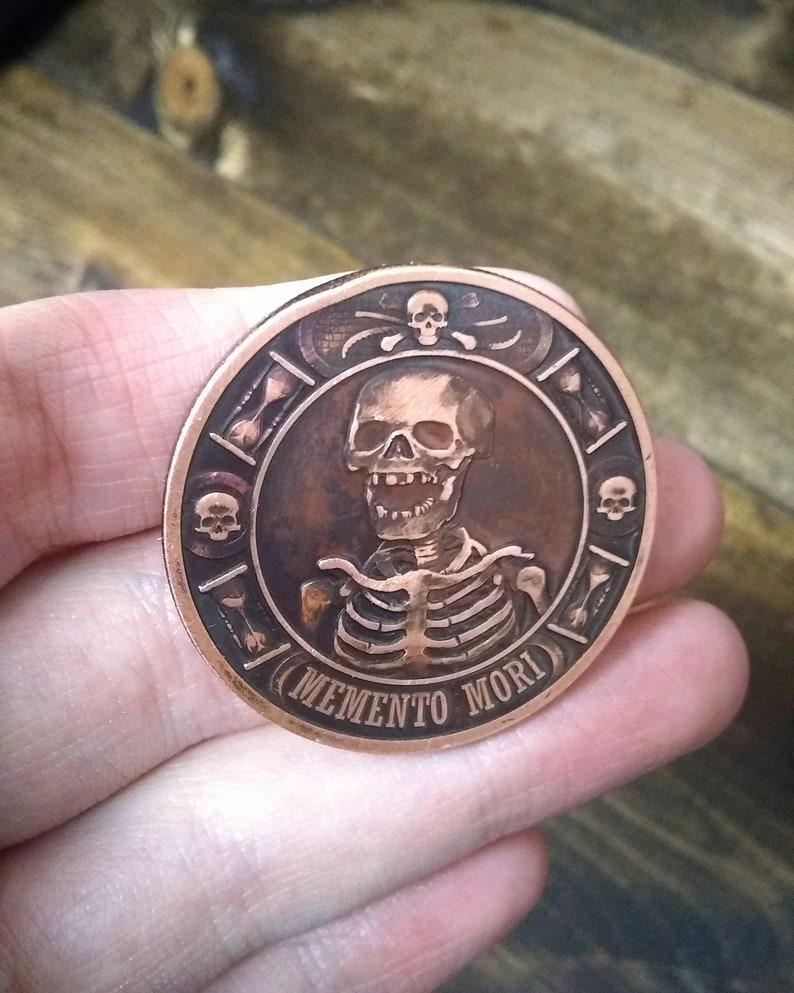 Memento Mori Antique Patina Custom Challenge Coin Medallion | Hobo Nickel |  Worry Fiddle EDC | 1 oz Copper Round | Skull Death| Men's Gift